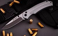 Нож складной, цельнометаллическая конструкция, фальшлезвие на всю длину обуха, анодированные спуски клинка, фото 1
