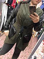 """Кардиган женский вельветовый с эко-кожей размеры S-L (4цв) """"COCO"""" купить недорого от прямого поставщика"""