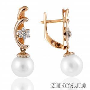 Золотые серьги с бриллиантами и жемчугом 7135