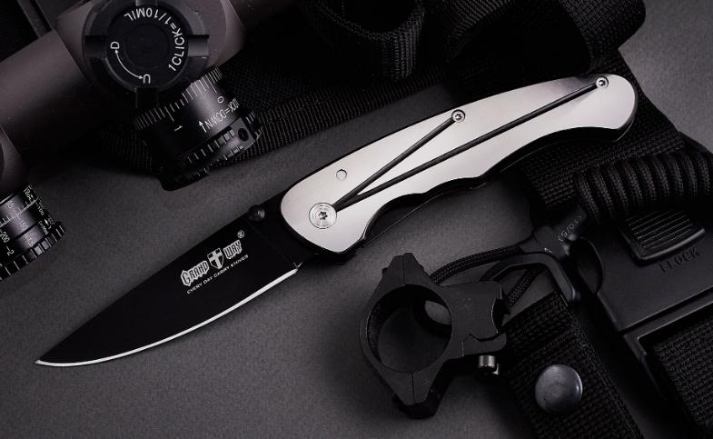 Нож складной с металлической рукояткой, стильный, городской, с однопозиционной стальной клипсой, практичный
