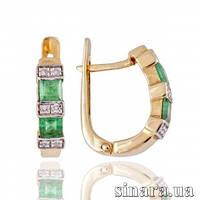 Золотые серьги с бриллиантами и изумрудами 4100