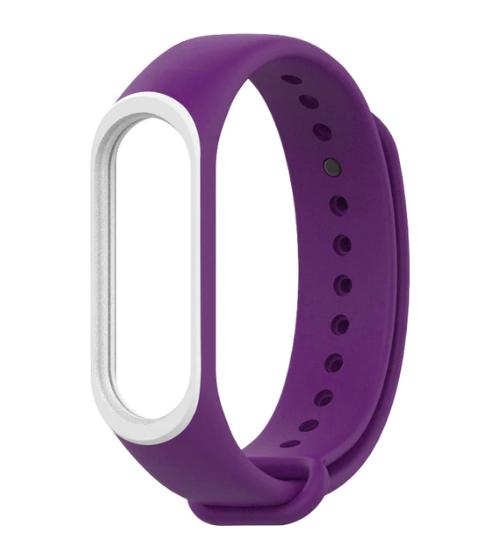 Силиконовый двухцветный фиолетовый с белой полоской ремешок на фитнес трекер Xiaomi mi band 4 / 3 браслет