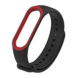 Силиконовый двухцветный чёрный с красной полоской ремешок на фитнес трекер Xiaomi mi band 4 / 3 браслет, фото 2