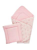 Плед Minky плюшевый розовый 75х85 см с подушечкой 35х35 см (215608-1)