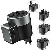 Зарядний пристрій-адаптер Hoco AC4 Адаптивна вилка US/AUS/UK/EUROPEAN 2xUSB