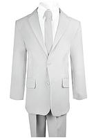Нарядный серый костюм пятёрка с тонким галстуком