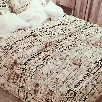 Комплект постельного белья евро размер 200/220,простынь 200/220,нав-ки 70/70,ткань сатин 100% хлопок, фото 2