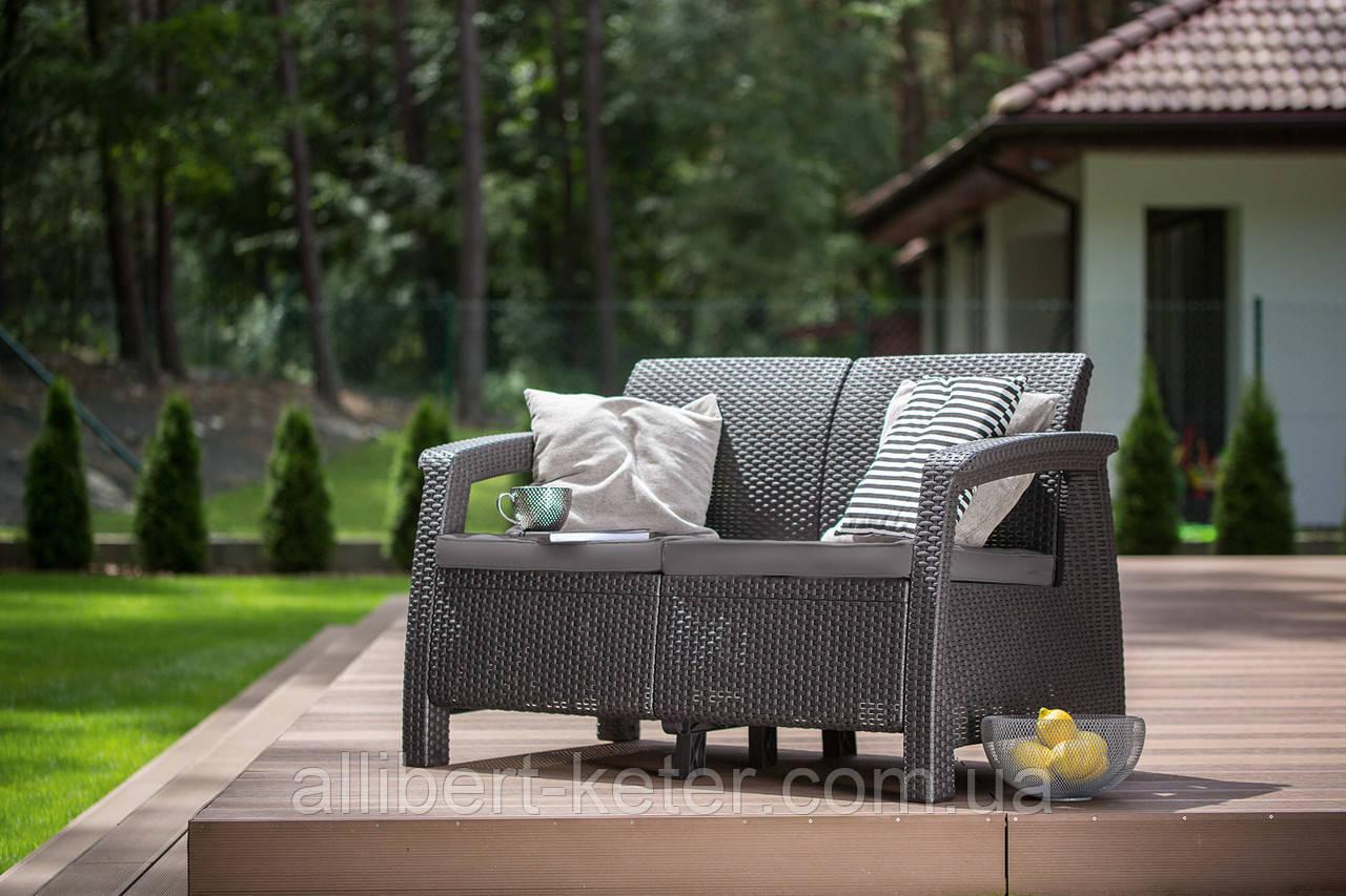 Набор садовой мебели Corfu Love Seat Graphite ( графит ) из искусственного ротанга ( Allibert by Keter )
