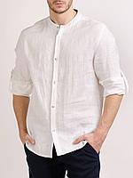 Рубашка классическая мужская.Натуральный тонкий лен. Разные цвета. Для пляжной церимонии. Для пляжной церимонии ярко-белый