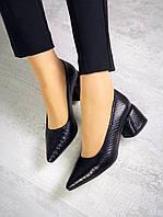 Шикарные кожаные туфли на каблучке 36-40 р чёрная рептилия, фото 1
