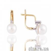 Золотые серьги с жемчугом и бриллиантами 7122