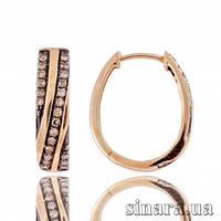 Золотые серьги с коньячными бриллиантами 22621