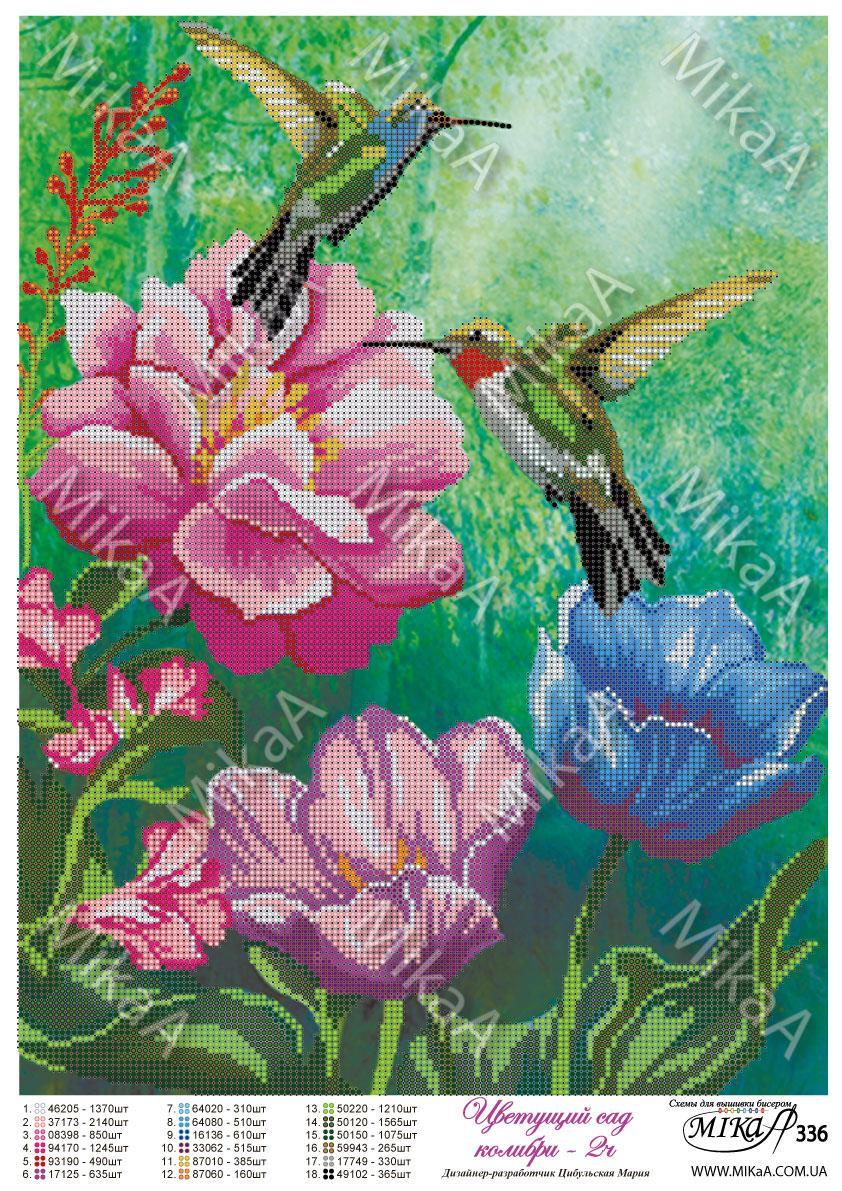"""Схема для частичной вышивки бисером -""""Цветущий сад колибри"""" ч2 ."""
