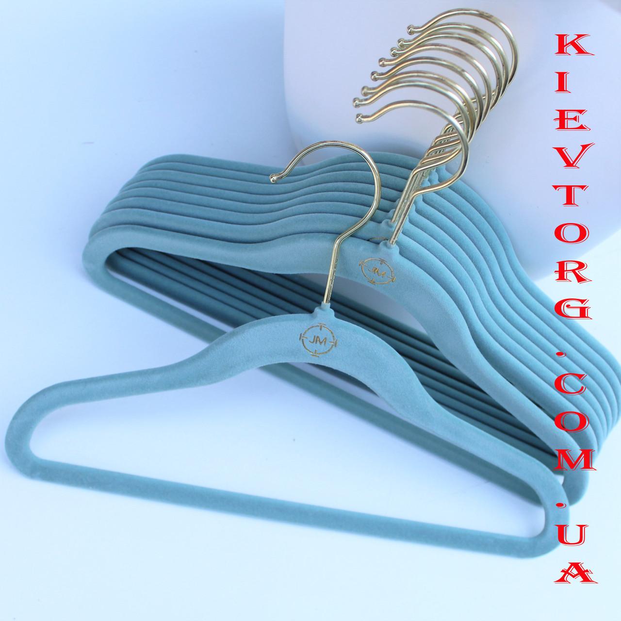 Бархатные плечики вешалки детские для одежды, платьев, рубашек флокированные фисташковые, 30 см