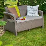 Набор садовой мебели Corfu Love Seat Cappuccino ( капучино ) из искусственного ротанга ( Allibert by Keter ), фото 4