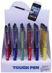 Ручка шариковая со стилусом в металлическом корпусе,цвет чернил-синий