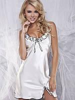 Белая сатиновая ночная рубашка