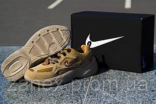 Мужские кроссовки Nike M2K Tekno Linen & Wheat & Ale Brown коричневые замшевые осенние демисезонные, фото 3