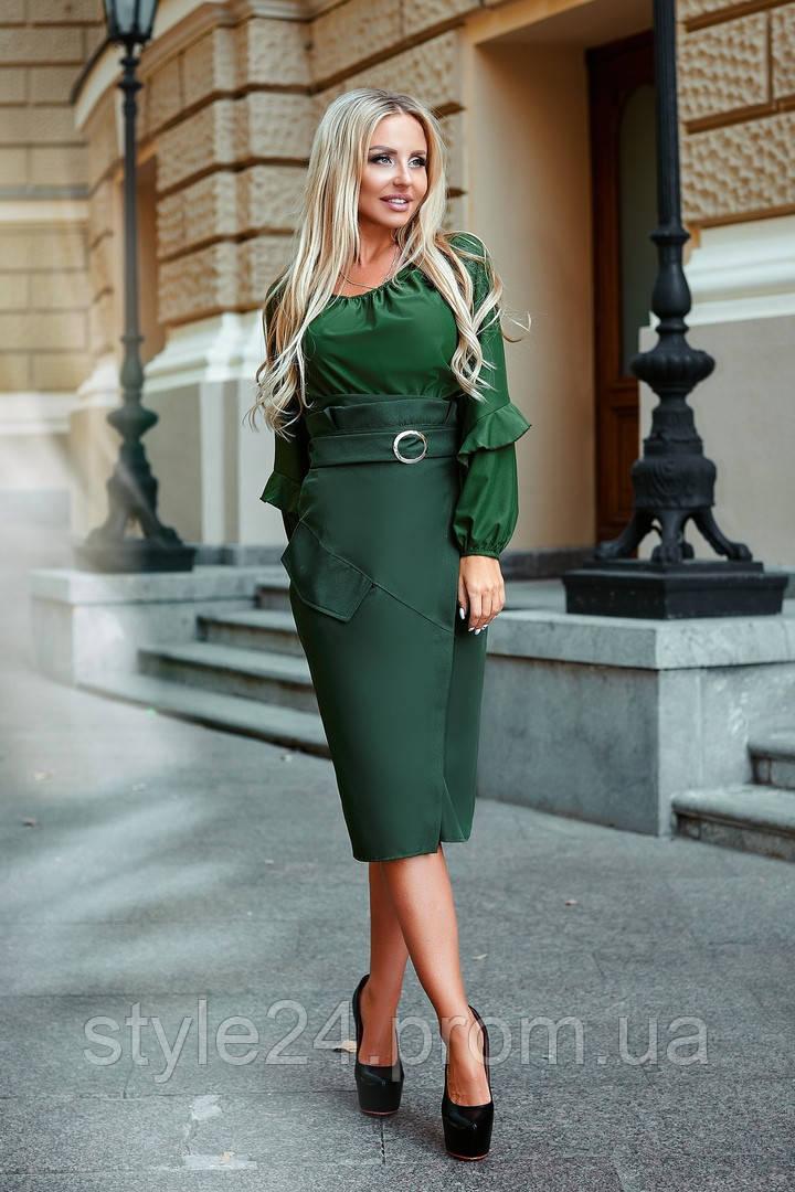 Шикарний жіночий  костюм з  блузою та  спідницею з поясом ,4 кольори. Р-ри 42-46