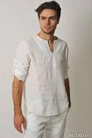 Мужская рубашка лен без ворота - модно. Любого цвета, фото 1