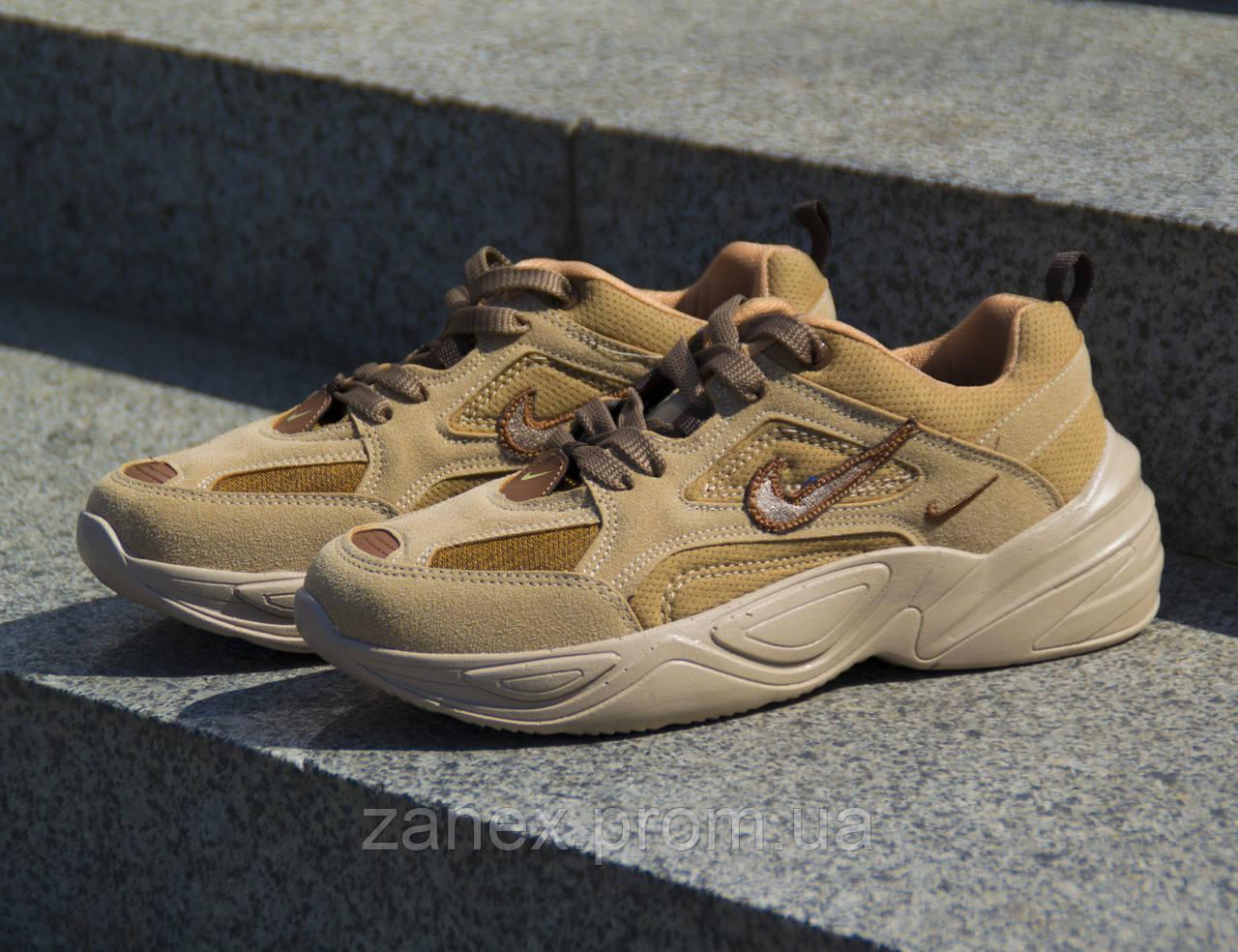 Мужские кроссовки Nike M2K Tekno Linen & Wheat & Ale Brown коричневые замшевые осенние демисезонные