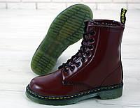 """Ботинки женские зимние кожаные с искусственным мехом Dr. Martens """"Бордовые"""" размер 36-41"""