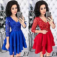 Платье женское вечернее, нарядное, пышное, шикарное, с двумя широкими оборками и пышной юбкой, короткой