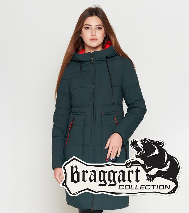 Зимняя женская куртка 25055 темно-зеленая Braggart Youth