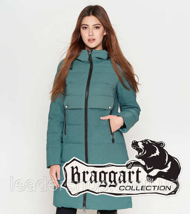 Длинная женская куртка 25465 зеленая Braggart Youth