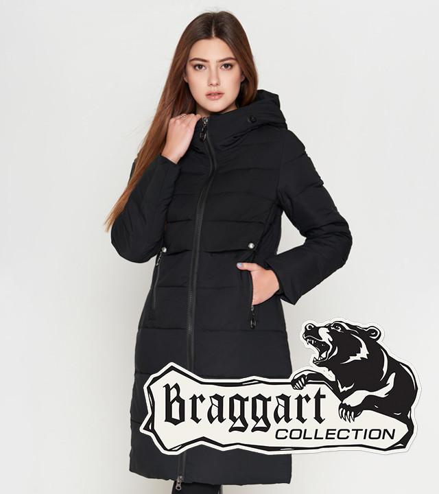 Теплая куртка женская на зиму 25465 черная Braggart Youth
