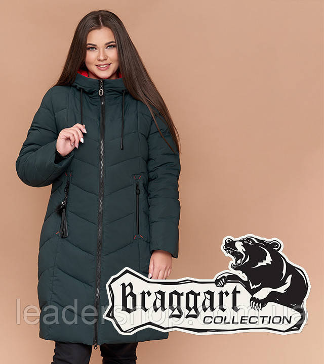 Куртка женская на зиму большого размера темно-зеленая (6) Braggart Youth 25695 |