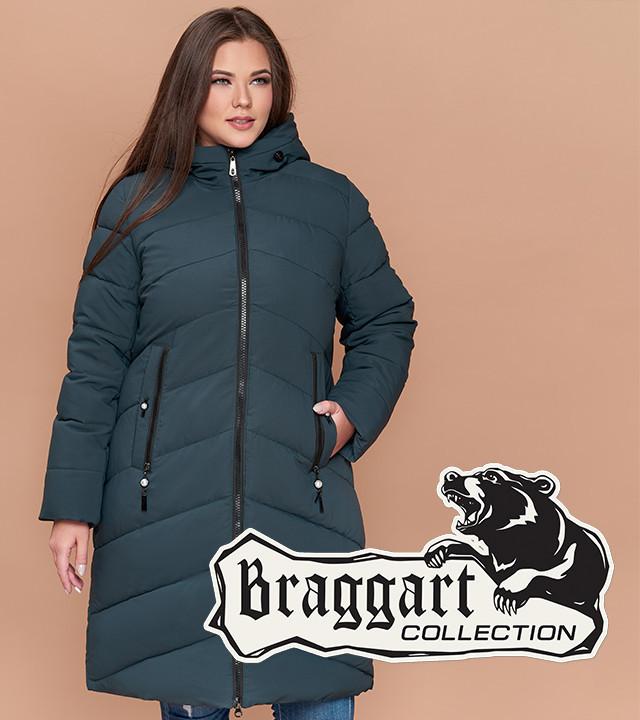 Удлиненная женская куртка большого размера бирюза Braggart Youth 25015