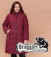 Теплая женская куртка большого размера бордовая Braggart Youth 25015 , фото 1