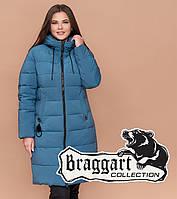 Женская куртка на зиму большого размера темно-голубая Braggart Youth, фото 1