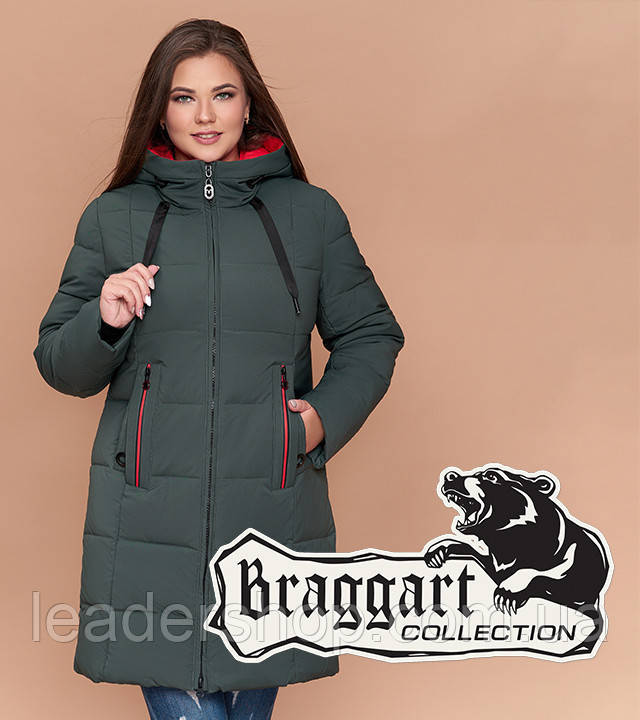 Теплая зимняя куртка большого размера серо-зеленая Braggart Youth