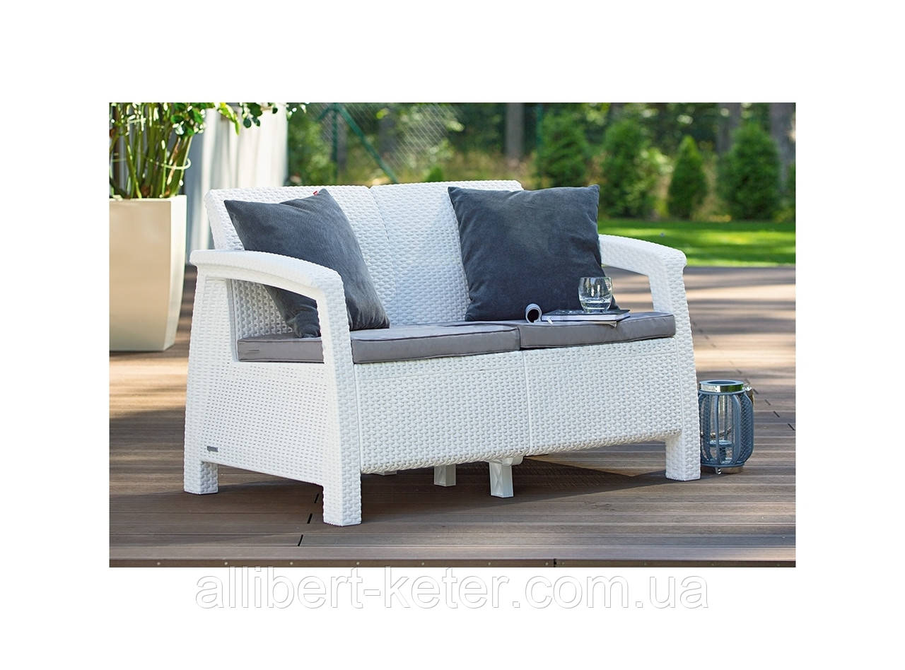 Набор садовой мебели Corfu Love Seat White ( белый ) из искусственного ротанга