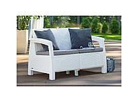 Набор садовой мебели Corfu Love Seat White ( белый ) из искусственного ротанга, фото 1