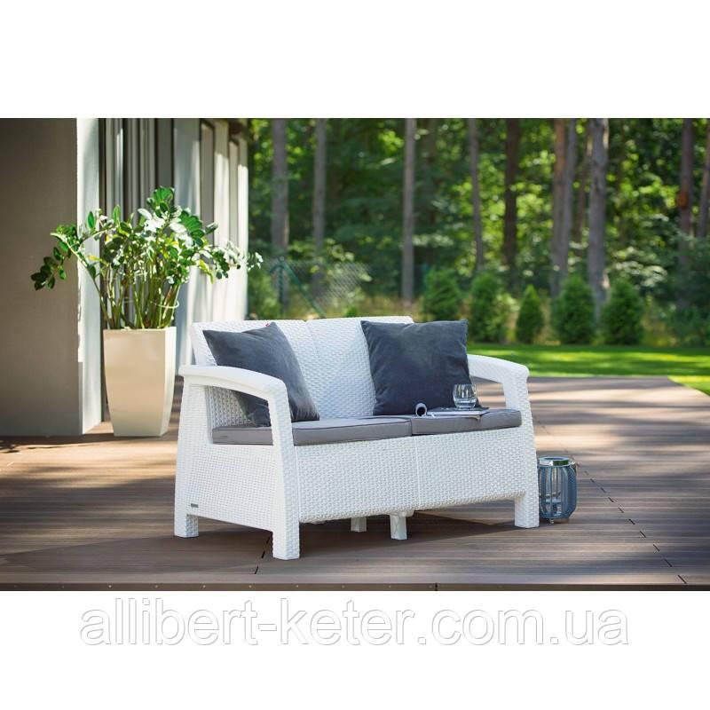 Набір садових меблів Corfu Love Seat White ( білий ) з штучного ротанга ( Allibert by Keter )