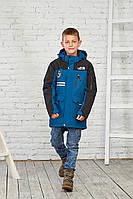 Стильная осенняя куртка на мальчика от 9 до 15 лет от RTJ темно-синий цвет 6658