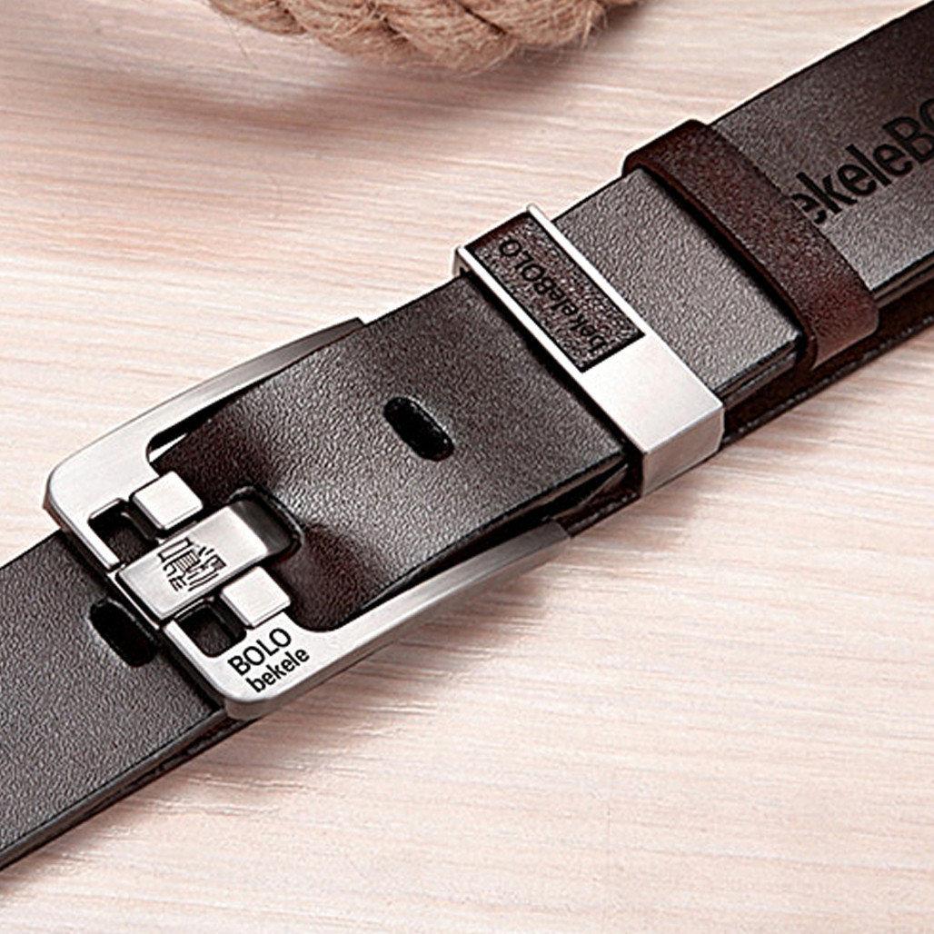 Стильный мужской кожаный ремень Bolo Bekele Черный