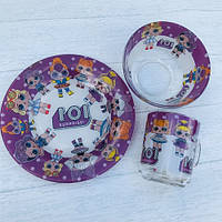 Детский набор посуды из прочного стекла 3 предмета Кукла лол LOL