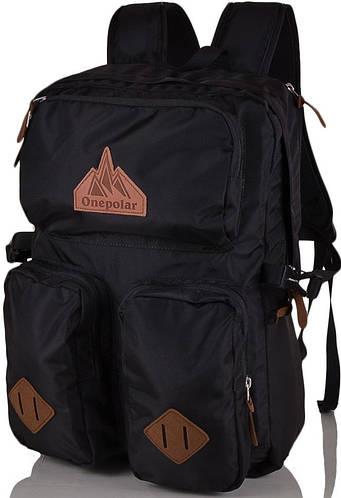 """Качественный молодежный рюкзак с отделением для ноутбука 17"""", 35 л. ONEPOLAR (ВАНПОЛАР) W1973-black черный"""