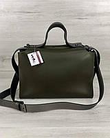 Оливковая сумка W57208 через плечо на молнии деловая с косметичкой, фото 1