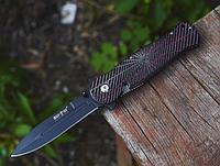 Нож складной, материал рукоятки-mikarta, черно-красного цвета, рельефный, хороший подарок для туриста, рыбака