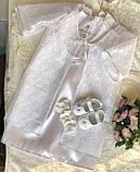 Очень красивый набор для крещения (платье, накидка, пинетки и повязка на голову) hand made, фото 4