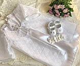 Очень красивый набор для крещения (платье, накидка, пинетки и повязка на голову) hand made, фото 3