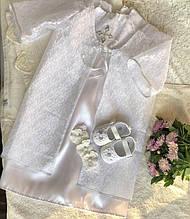 Очень красивый набор для крещения (платье, накидка, пинетки и повязка на голову) hand made