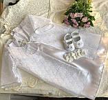 Очень красивый набор для крещения (платье, накидка, пинетки и повязка на голову) hand made, фото 5