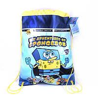 РЮКЗАК СУМКА Sponge Bob ГУБКА БОБ  голуб 40х33см ДЛЯ СМЕННОЙ ОБУВИ  .РЮКЗАК ДЛЯ ЗМІННОГО ВЗУТТЯ Sponge Bob ГУБ