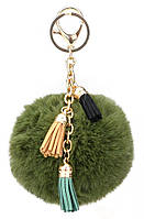 Пушистый брелок для ключей, сумок и рюкзаков с помпоном и кисточками 01083 Зелёный